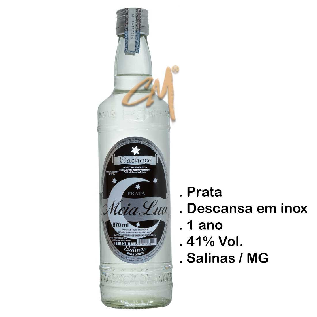 Cachaça Meia Lua Prata 670 ml (Salinas - MG)