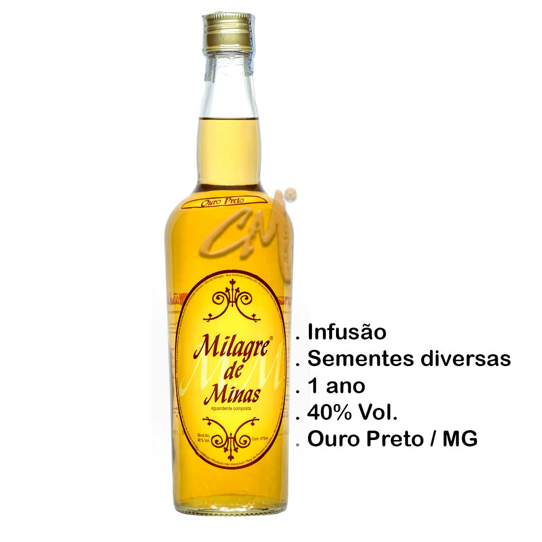 Cachaça Milagre de Minas 670 ml (Ouro Preto - MG)