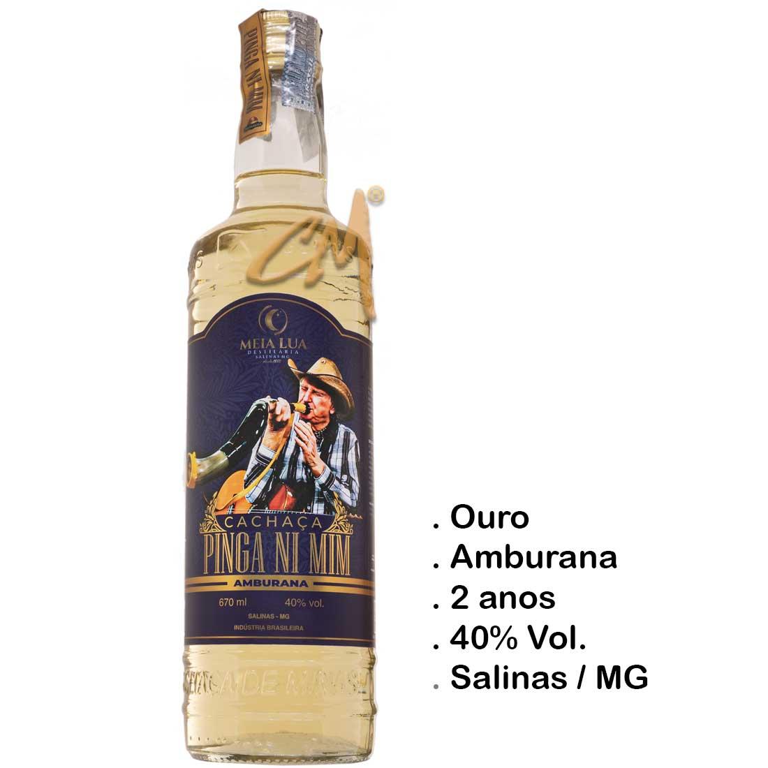 Cachaça Pinga Ni Mim Sergio Reis Amburana 670 ml (Salinas - MG)