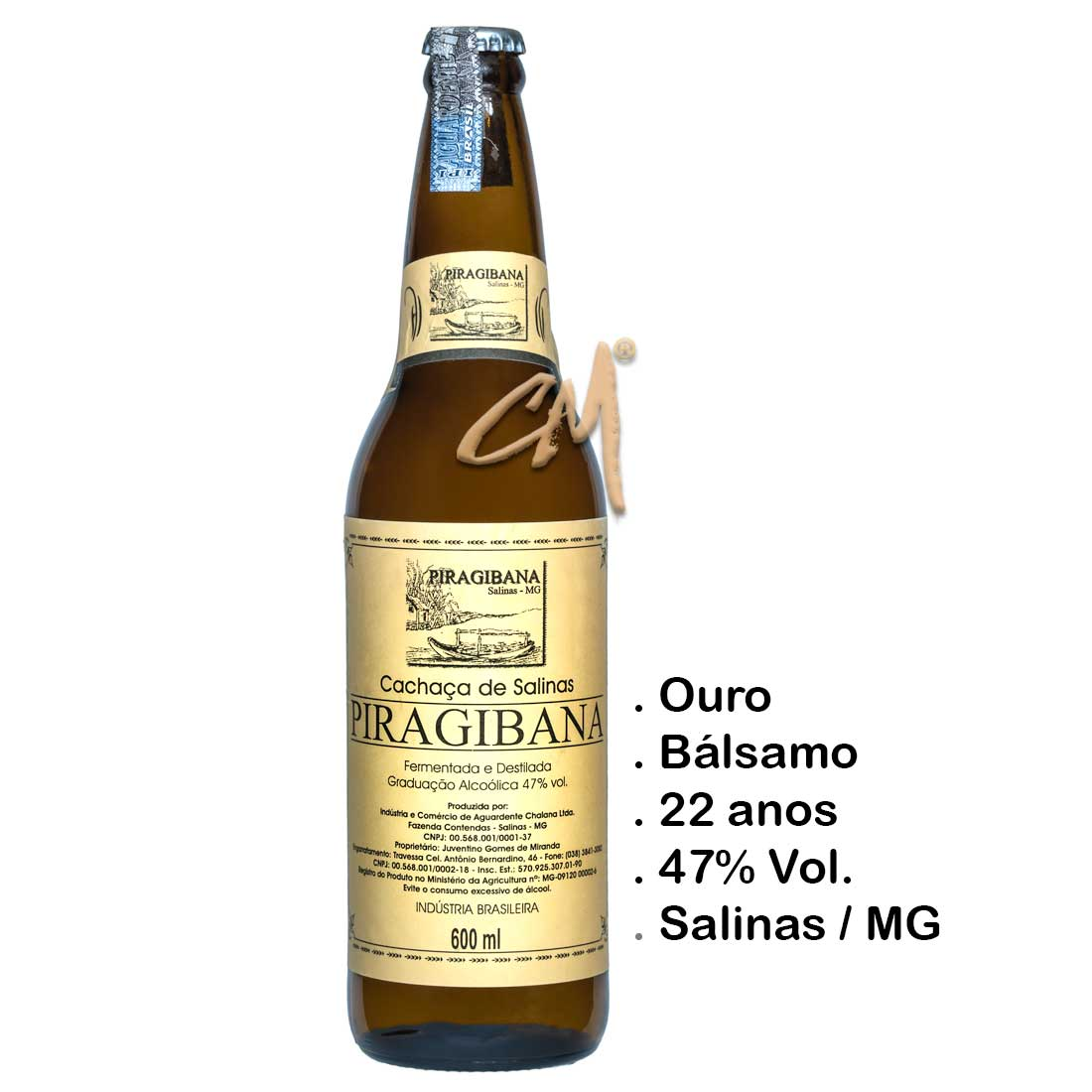 Cachaça Piragibana 600 ml (Salinas - MG)
