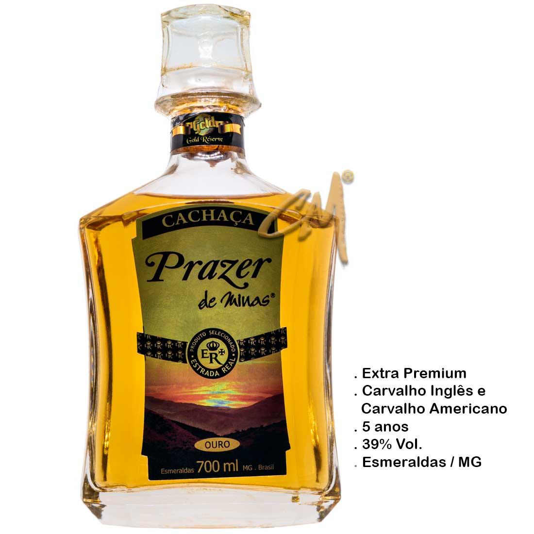 Cachaça Prazer de Minas Gold 700 ml (Esmeraldas - MG)