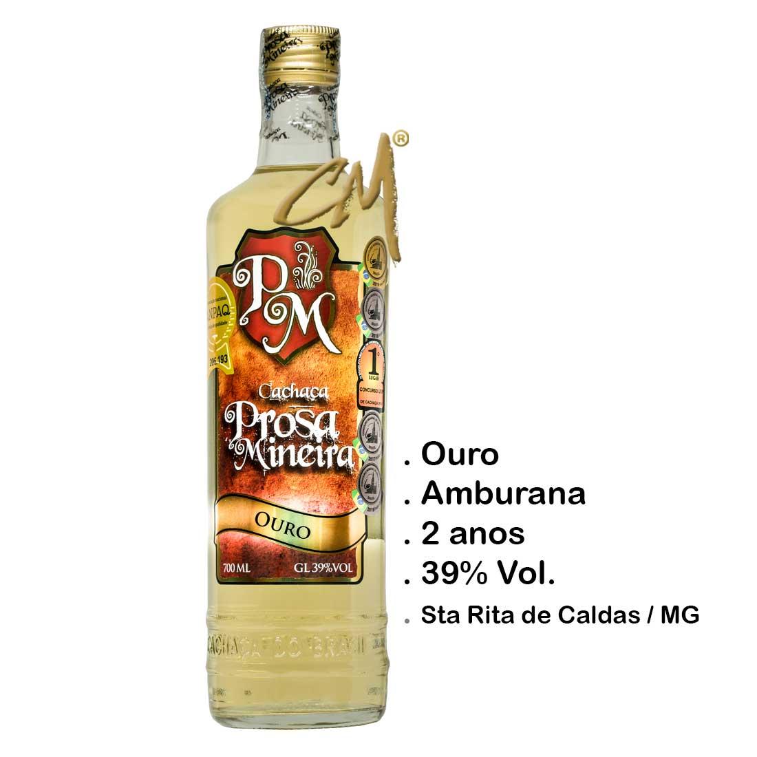 Cachaça Prosa Mineira Amburana 700 ml (Sta Rita de Caldas - MG)
