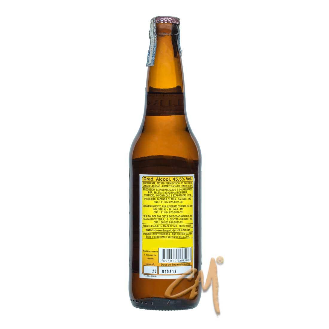 Cachaça Saliboa 600 ml (Salinas - MG) - Rótulo Antigo
