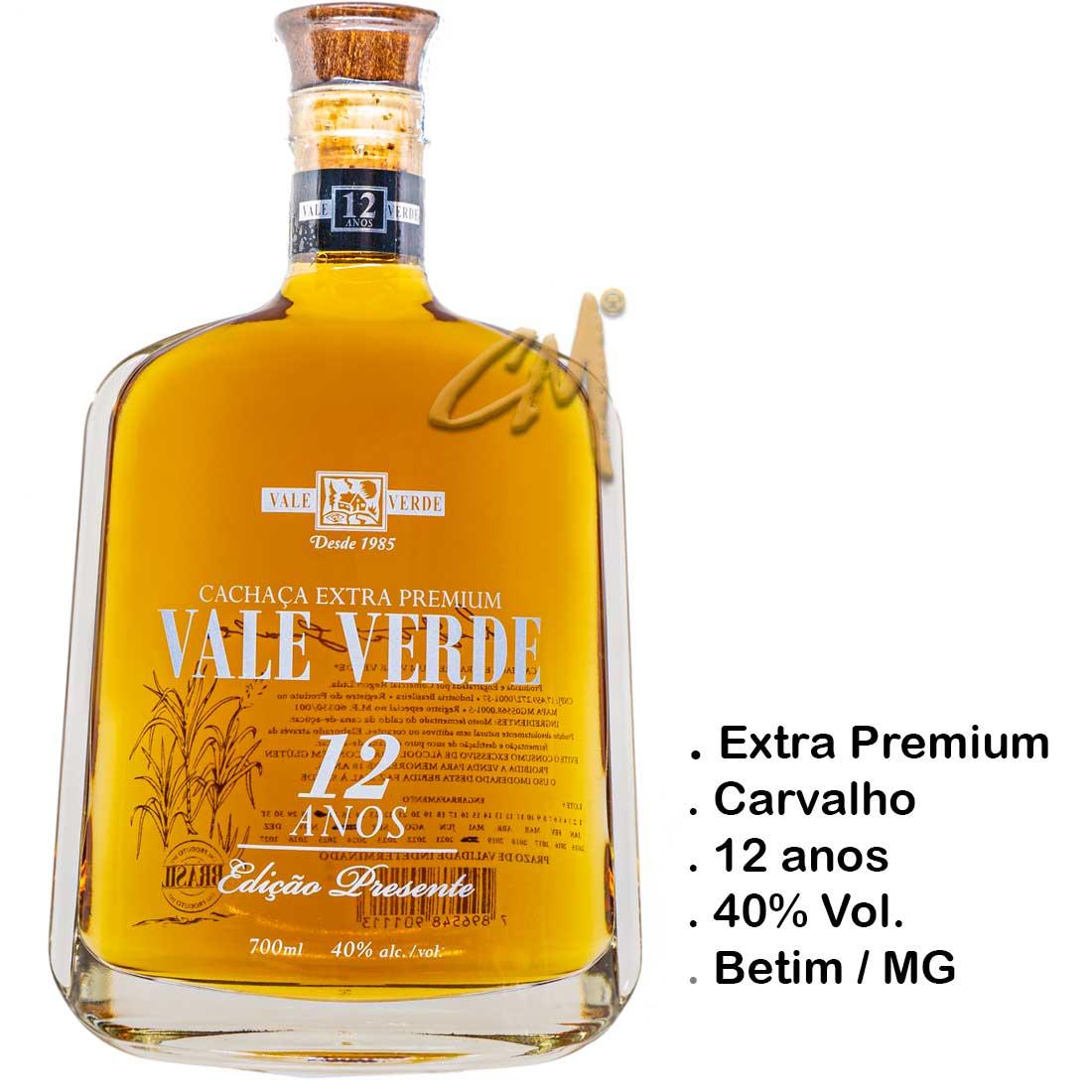 Cachaça Vale Verde Extra Premium 12 anos (Betim - MG)