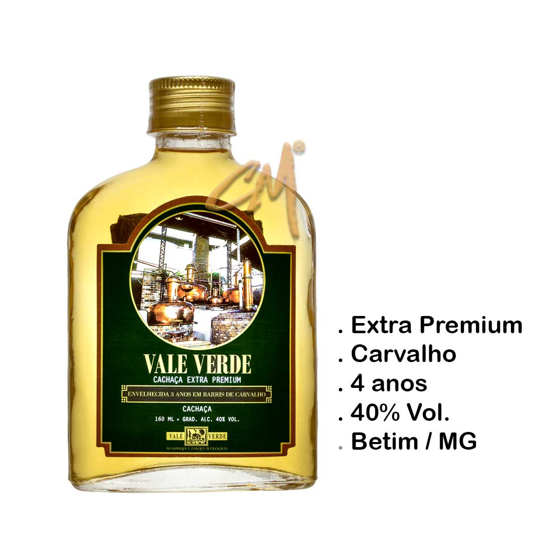 Cachaça Vale Verde Extra Premium 160 ml (Betim - MG)