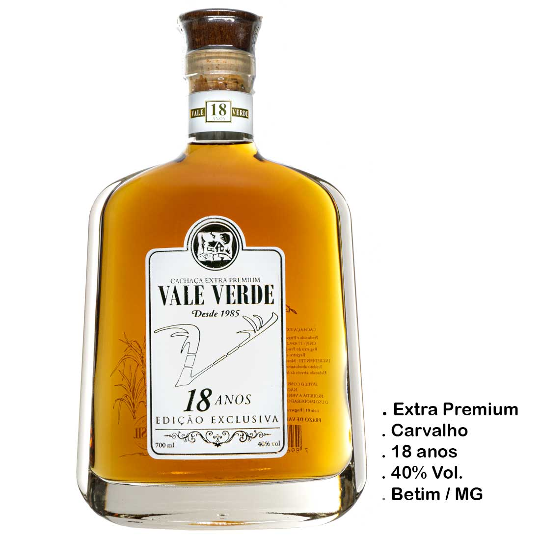 Cachaça Vale Verde Extra Premium 18 anos (Betim - MG)