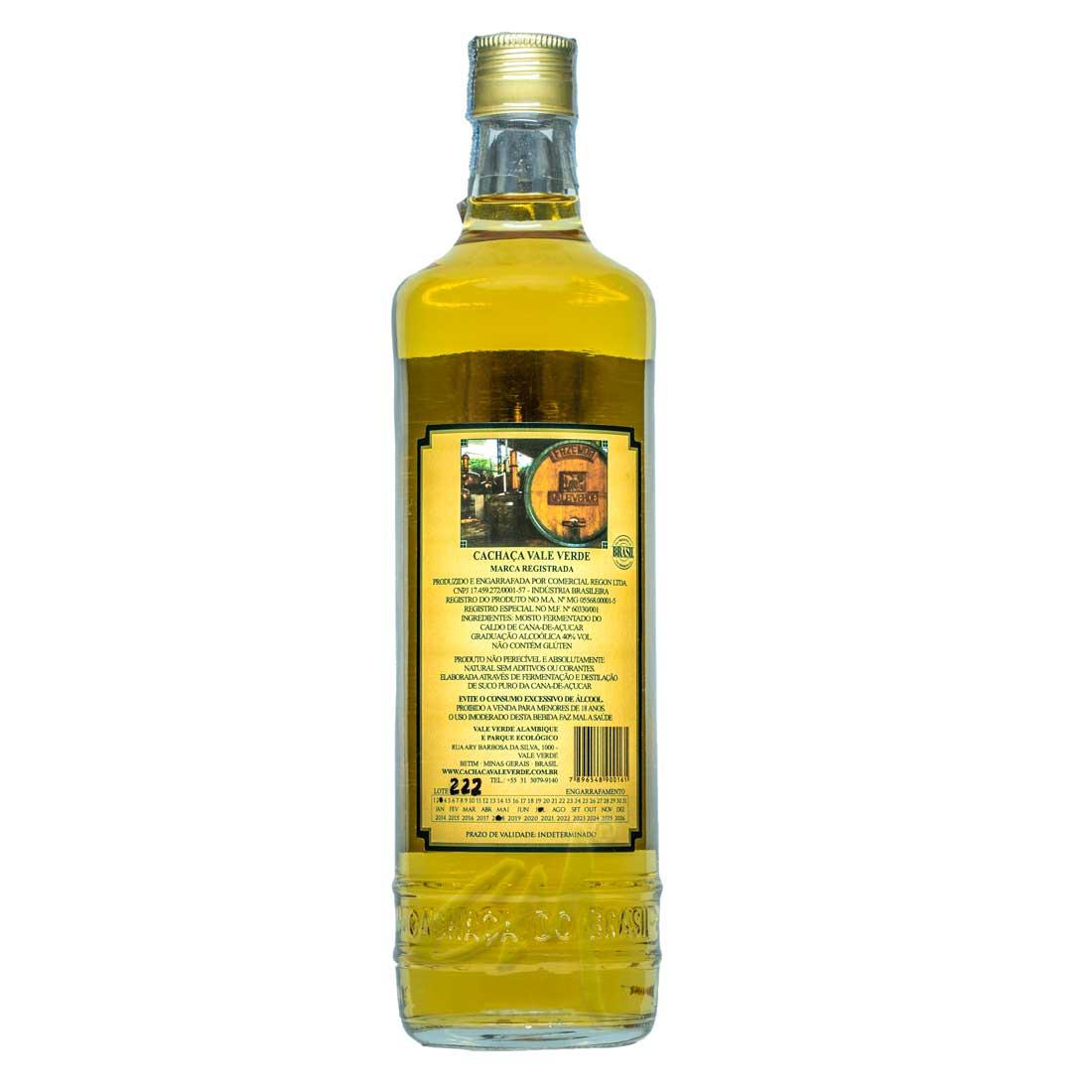 Cachaça Vale Verde Extra Premium 675 ml (Betim - MG)