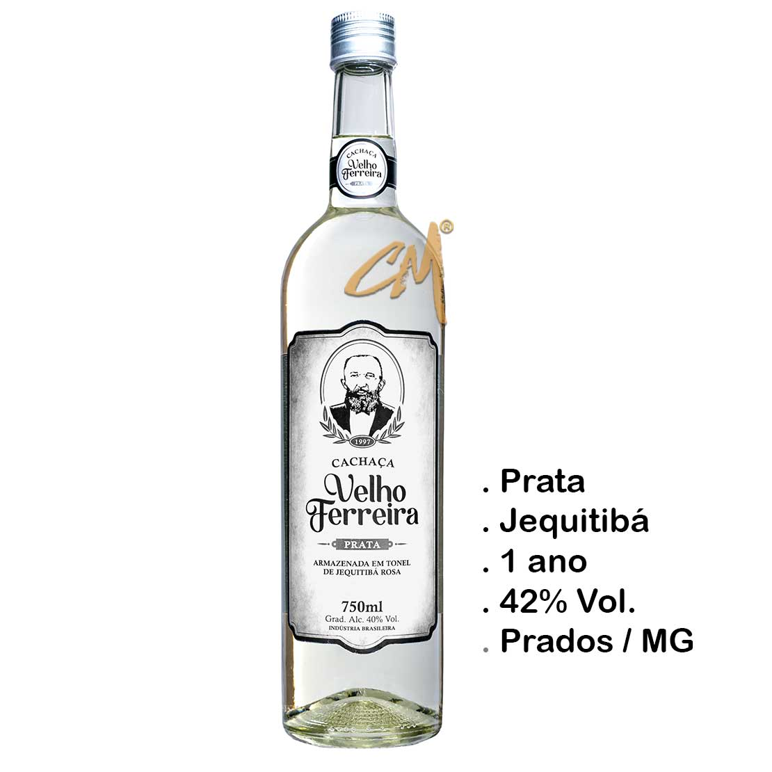 Cachaça Velho Ferreira Prata 750 ml   (Prados - MG)