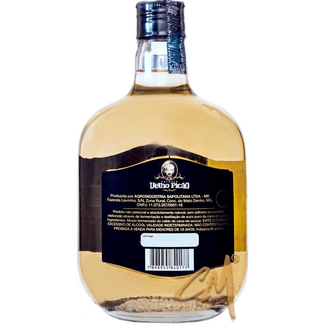 Cachaça Velho Picão Ouro 670 ml (Conceição do Mato Dentro - MG)