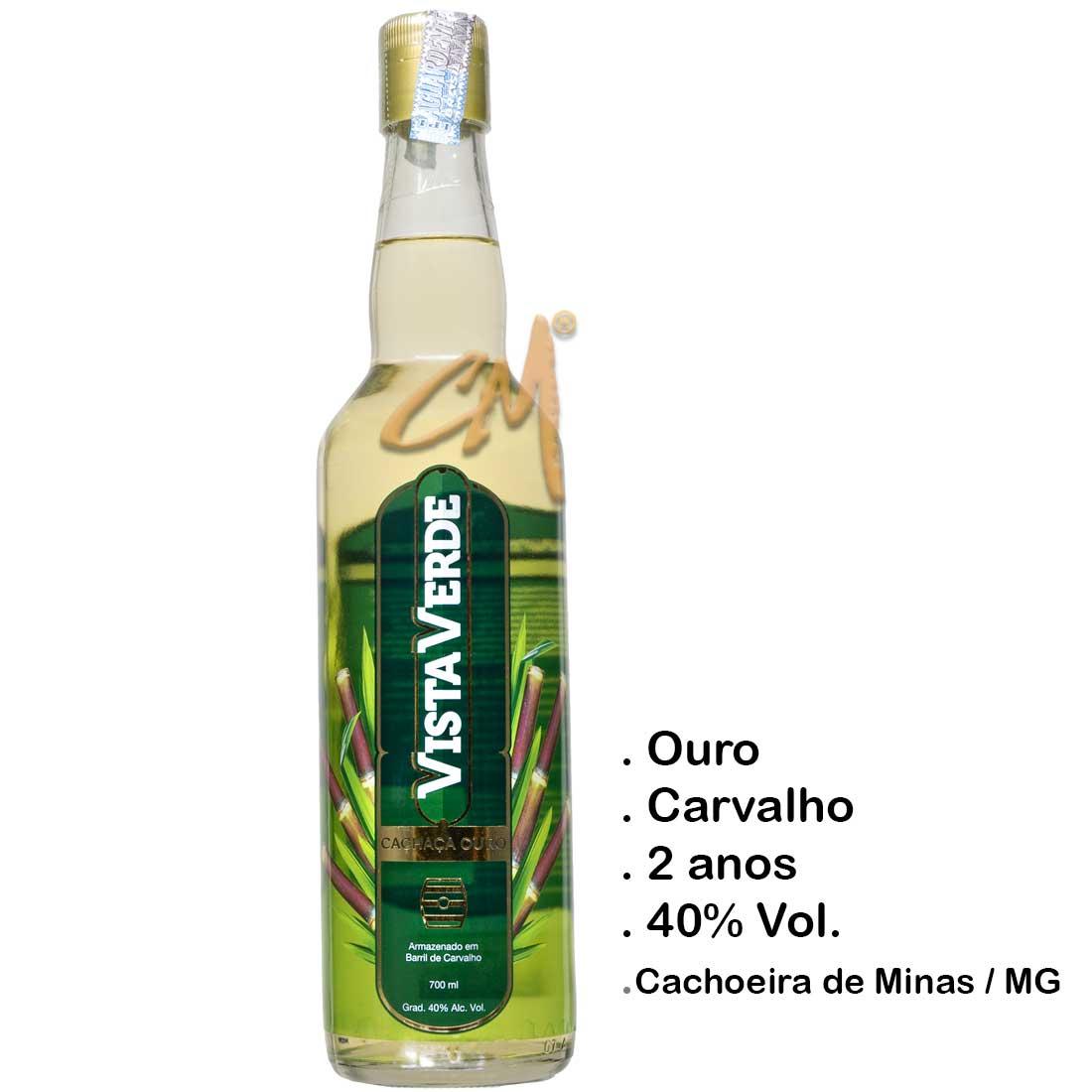 Cachaça Vista Verde Ouro 670 ml (Cachoeira de Minas - MG)