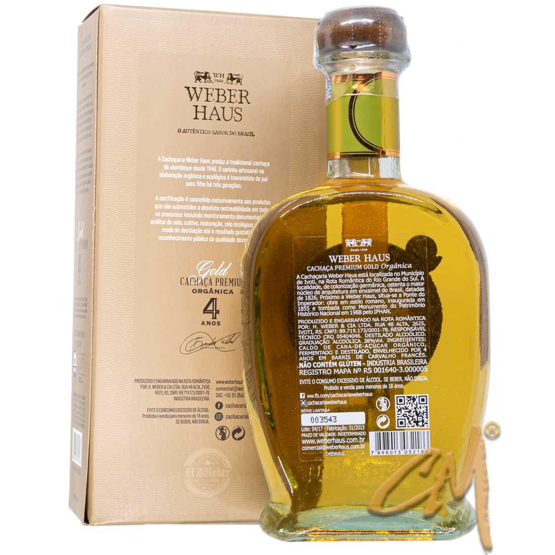Cachaça Weber Haus Premium 4 Anos Orgânica Ouro 750 ml (Ivoti - RS)