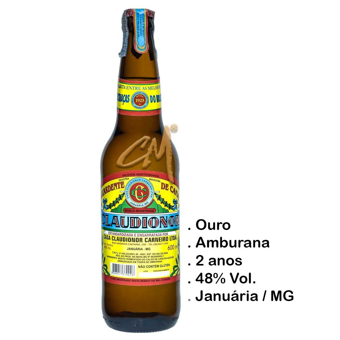 Cachaça Claudionor 600 ml (Januária - MG)