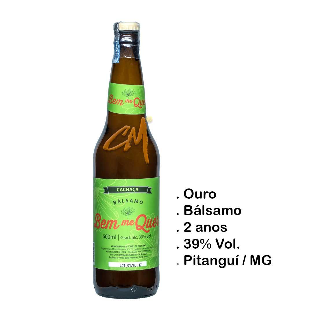 Cachaça Bem Me Quer Bálsamo 600 ml (Pitanguí - MG)