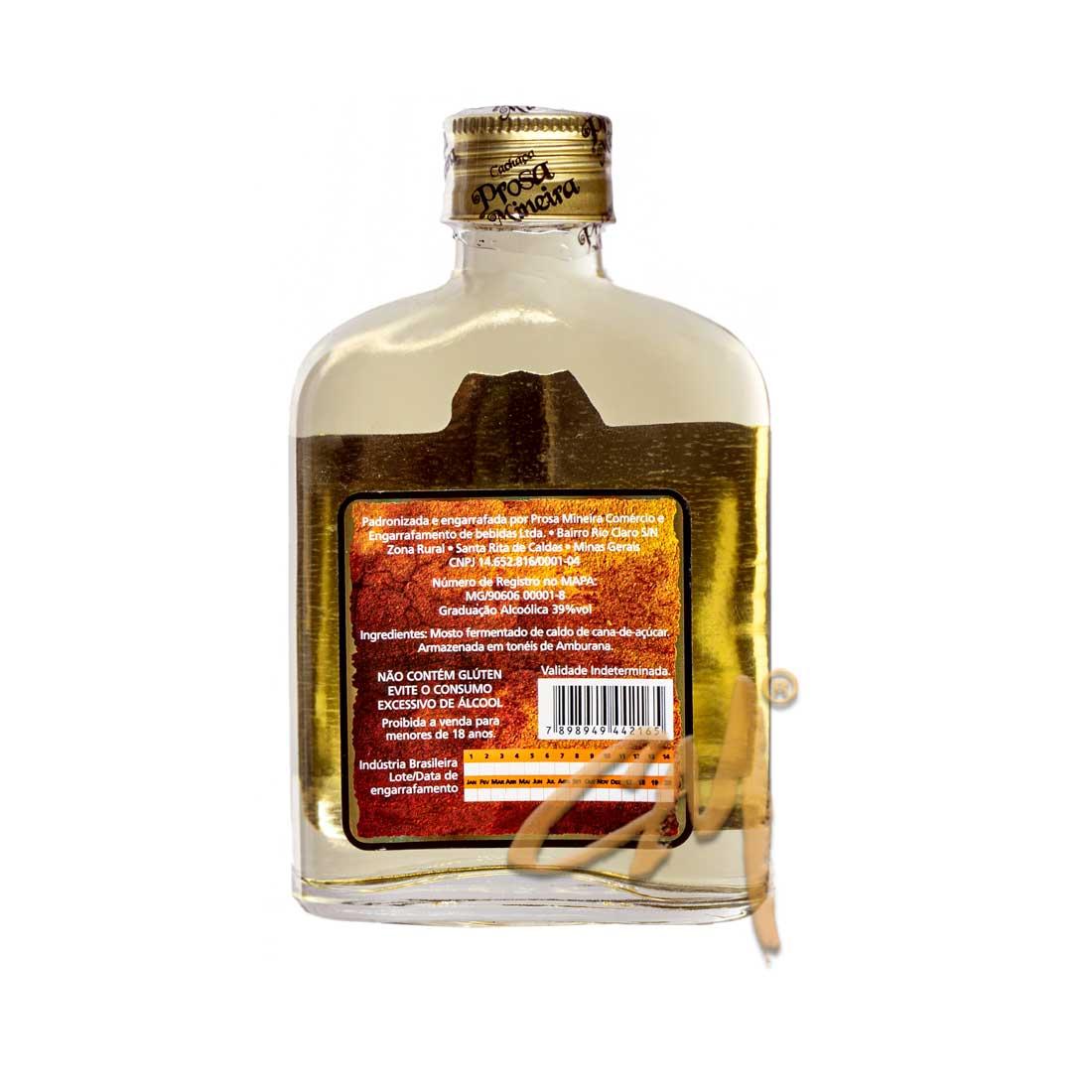 Cachaça Prosa Mineira Amburana 160 ml (Sta Rita de Caldas - MG)