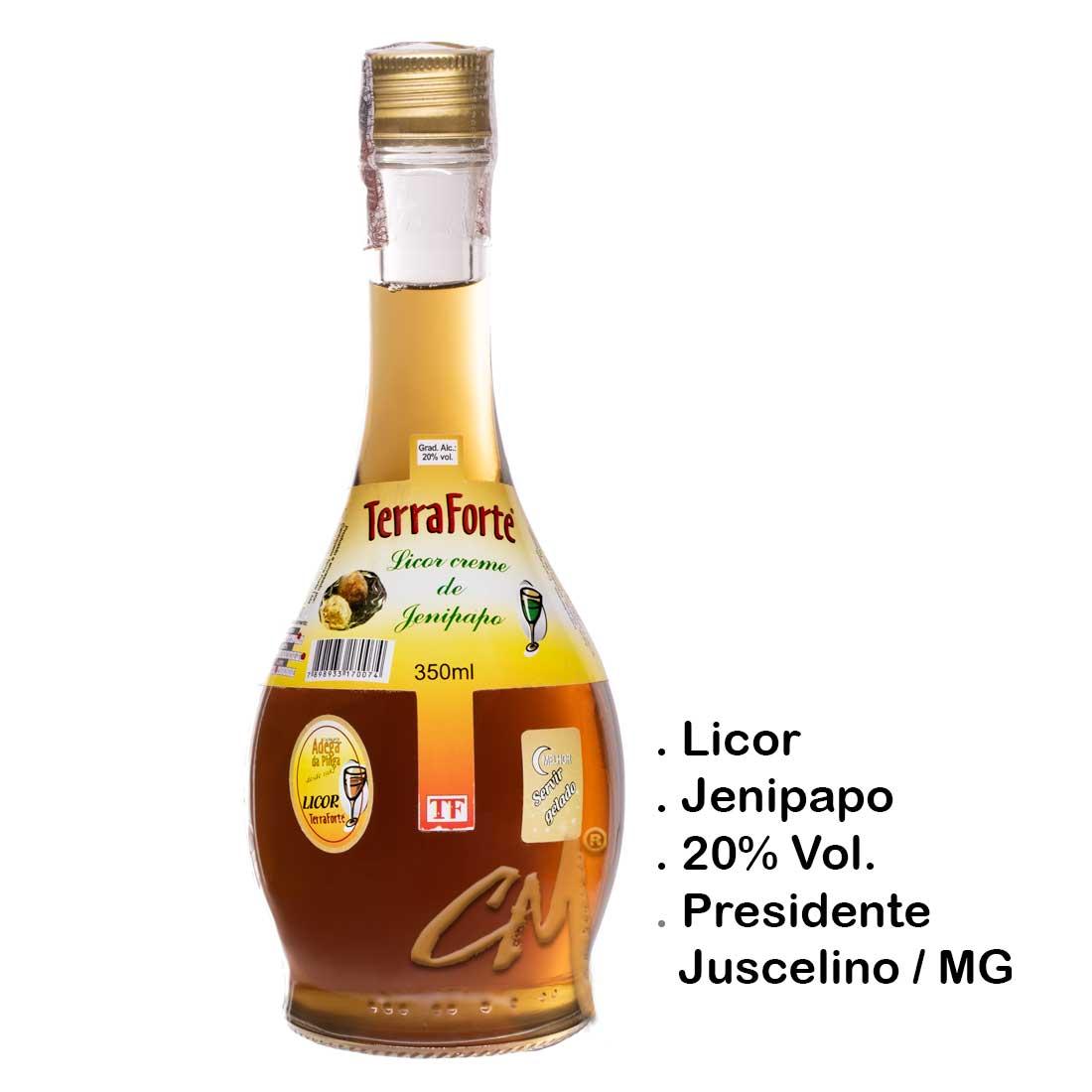Licor de Jenipapo – Terra Forte 350 ml   (Presidente Juscelino - MG)