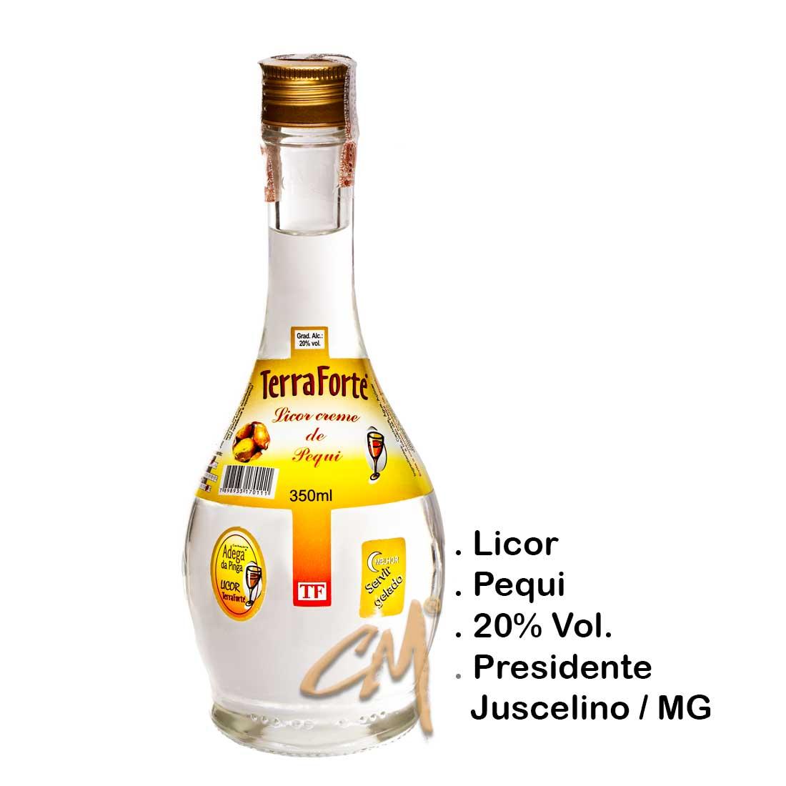 Licor de Pequí Cristal – Terra Forte 350 ml   (Presidente Juscelino - MG)