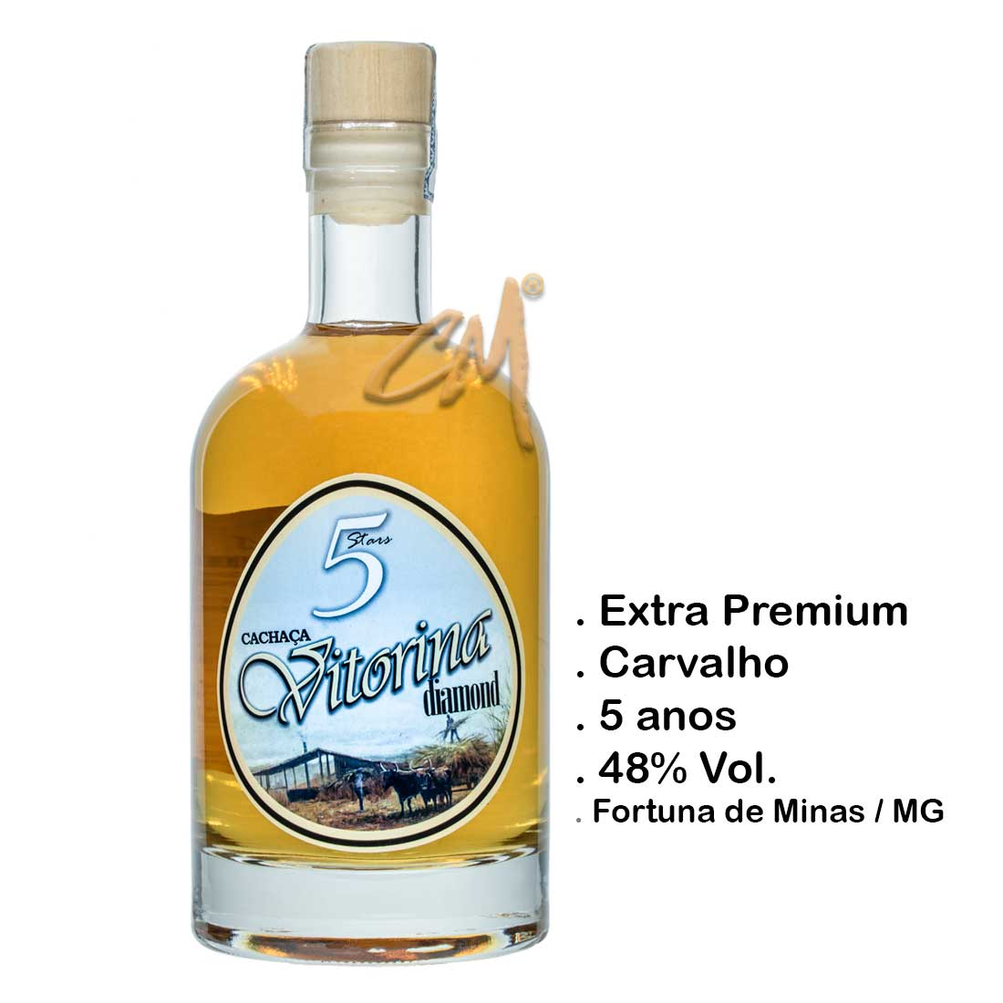 Cachaça Vitorina Diamond 750 ml   (Fortuna de Minas - MG)