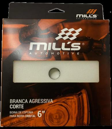"BOINA DE ESPUMA BRANCA AGRESSIVA PARA ROTO ORBITAL MILLS 6"" CORTE"