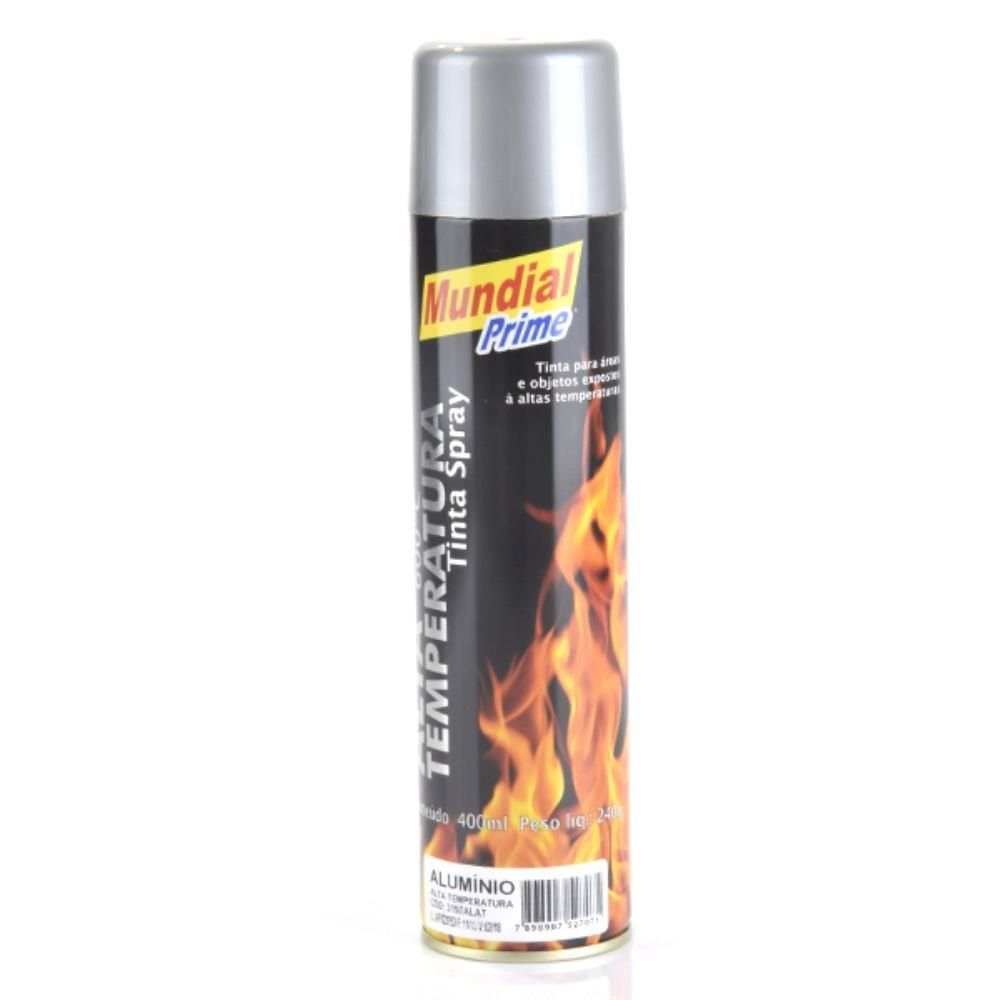 TINTA SPRAY 400ML MUNDIAL PRIME A TEMP ALUMINIO