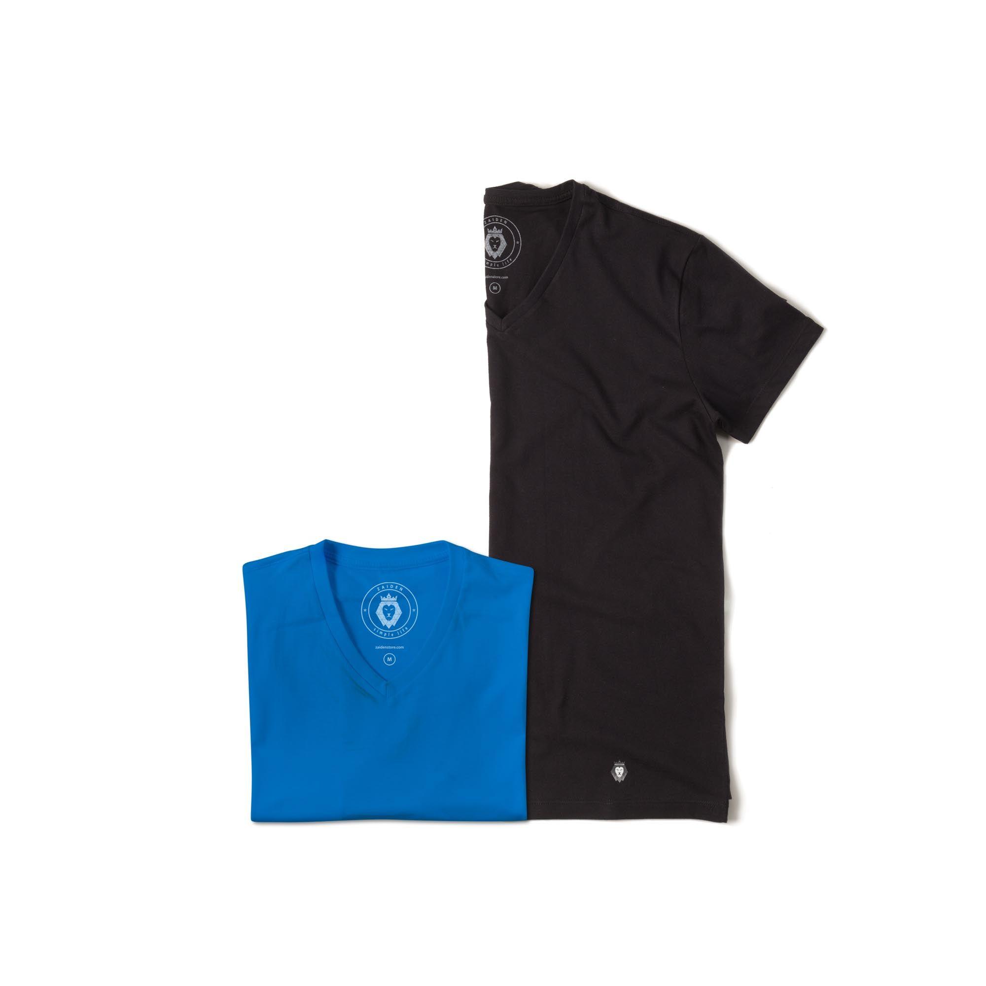 Kit 2 T-Shirt Basic Zaiden Preta Royal Masculina