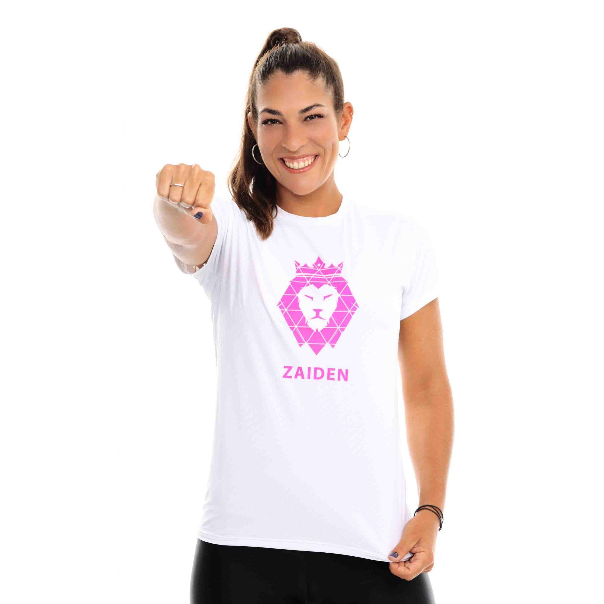 Camiseta Feminina Poliamida ZAIDEN Branca Leão Pink