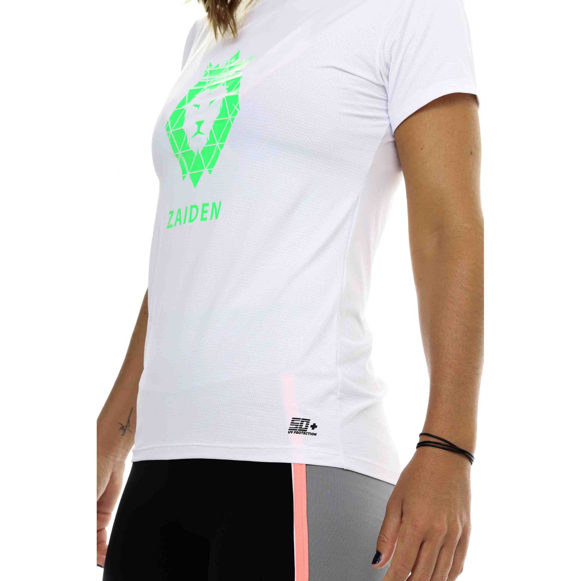 Camiseta Feminina Poliamida ZAIDEN Branca Leão Verde
