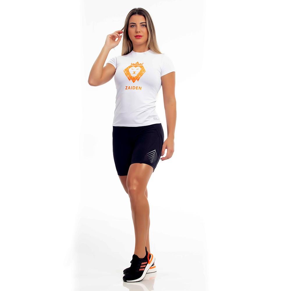 Camiseta Feminina Poliamida Branca ZAIDEN Leão Laranja