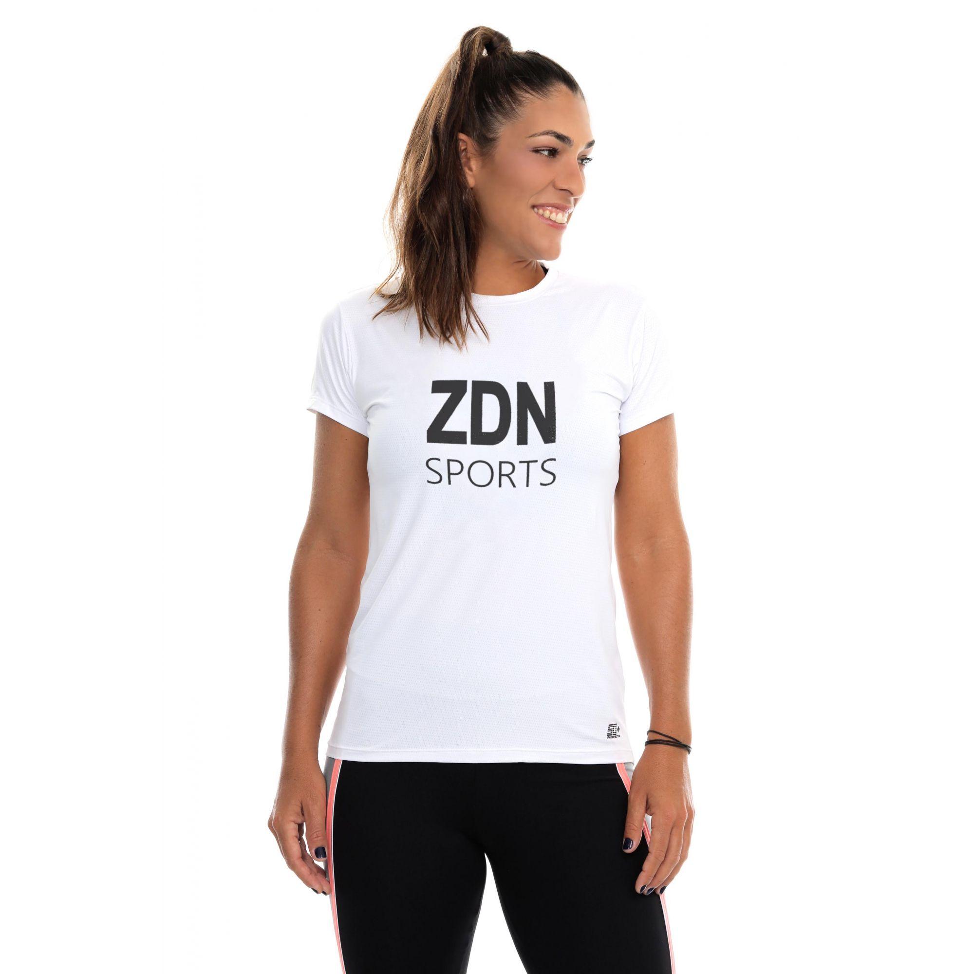Camiseta Feminina Poliamida Branca ZDN Preto
