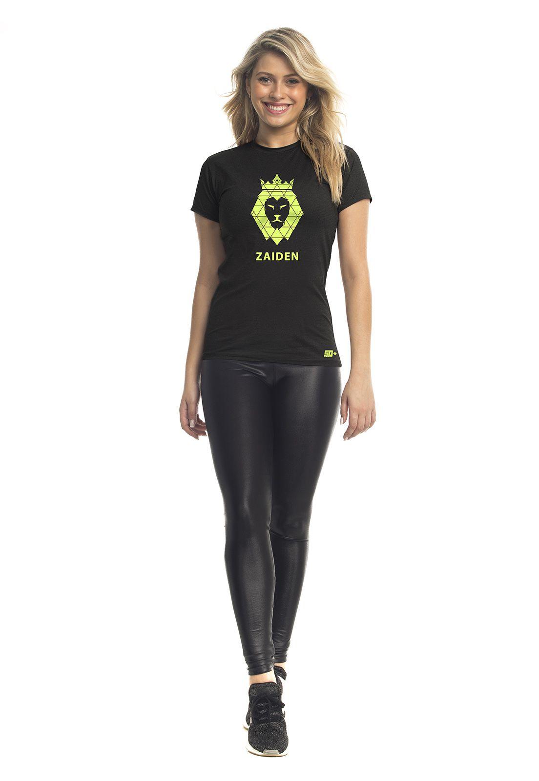 Camiseta Feminina Poliamida ZAIDEN Preta Leão Amarelo