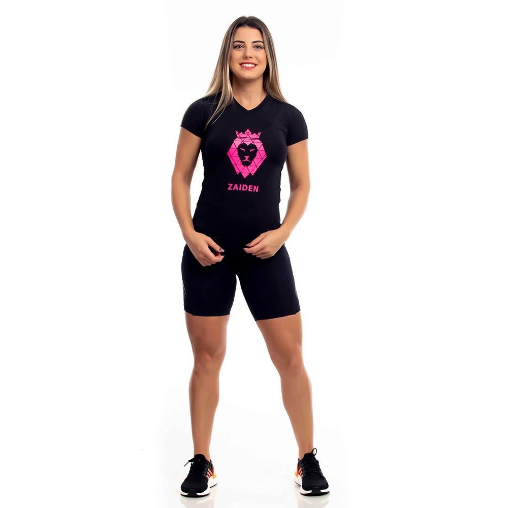 Camiseta  Feminina Poliamida Preta Zaiden Leão Pink