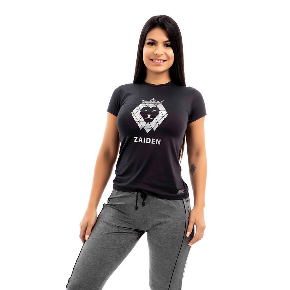 Camiseta Feminina Poliamida Preta Zaiden Leão Prata