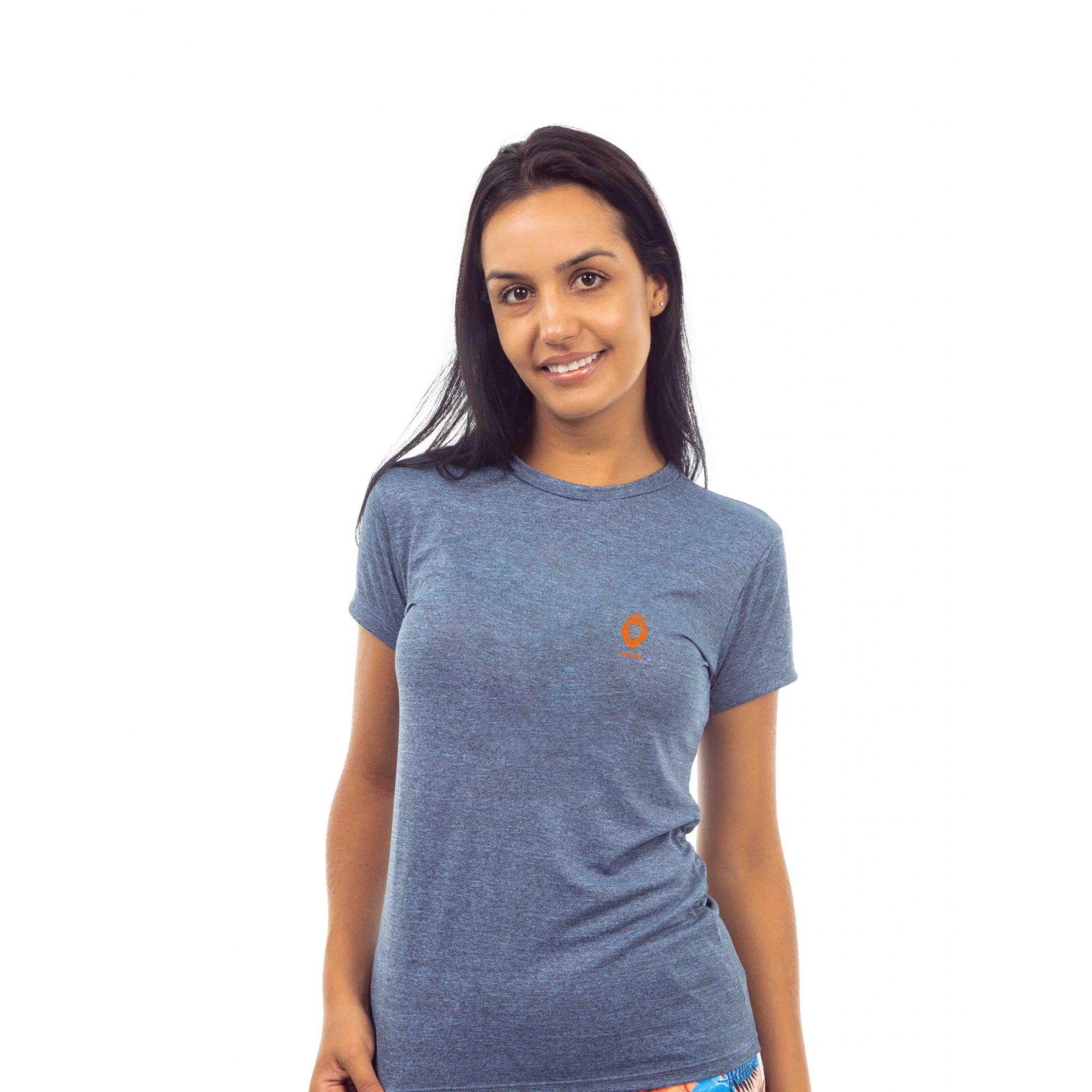Camiseta Feminina Poliamida Zaiden Oxy Mescla Azul Leão Laranja