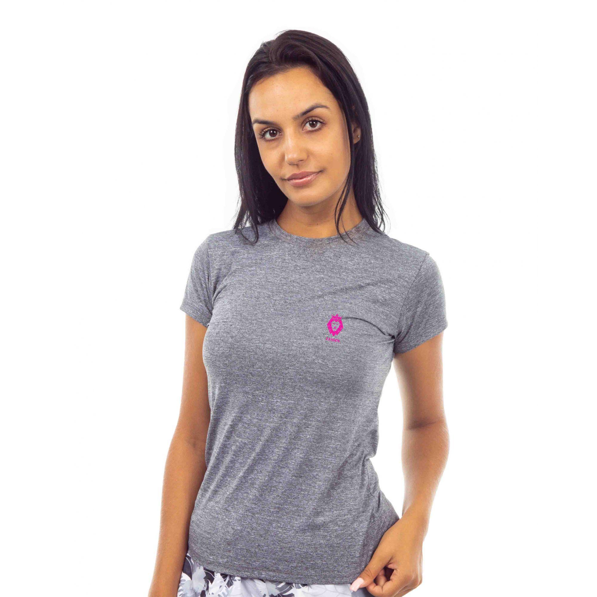 Camiseta Feminina Poliamida Zaiden Oxy Mescla Cinza Leão Pink