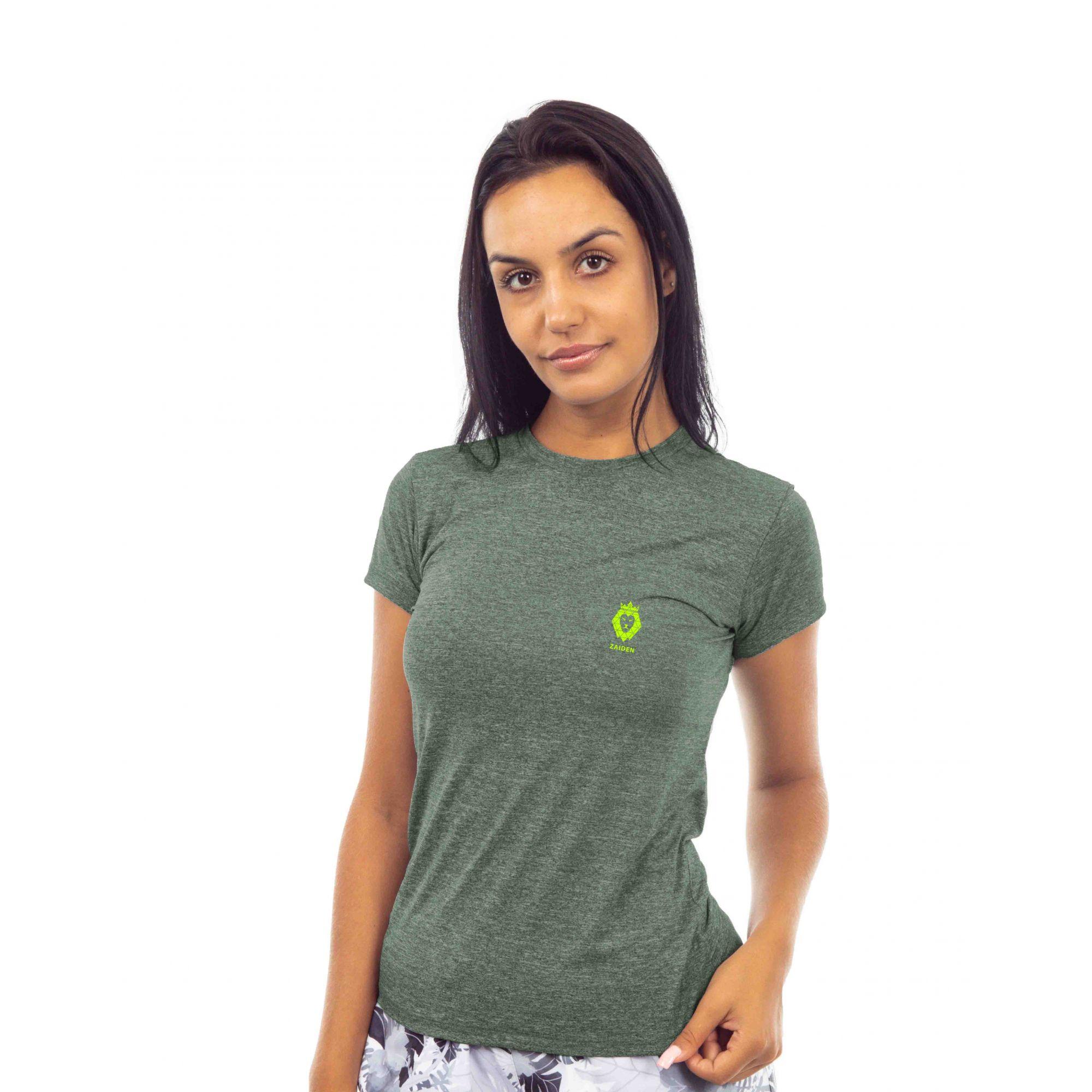 Camiseta Feminina Poliamida Zaiden Oxy Mescla Verde Leão Amarelo