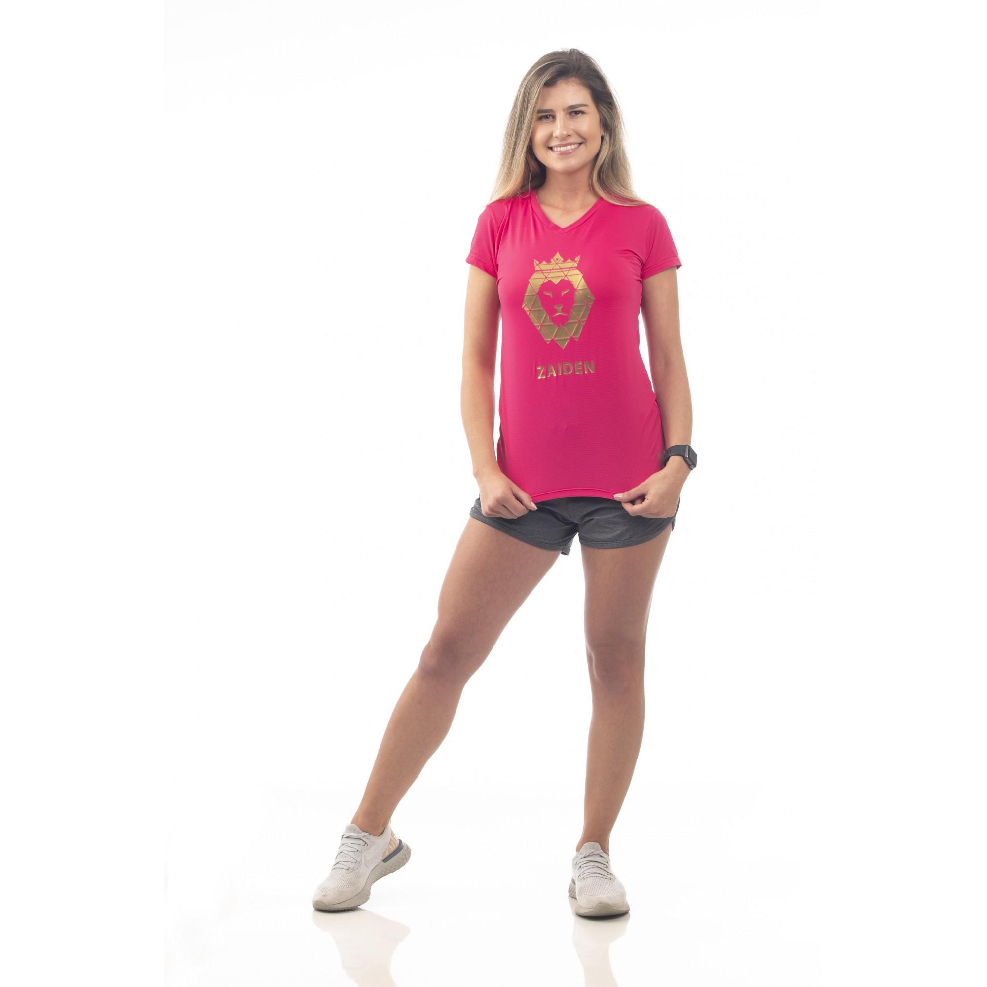 Camiseta Feminina Poliamida ZAIDEN Pink Leão Dourado