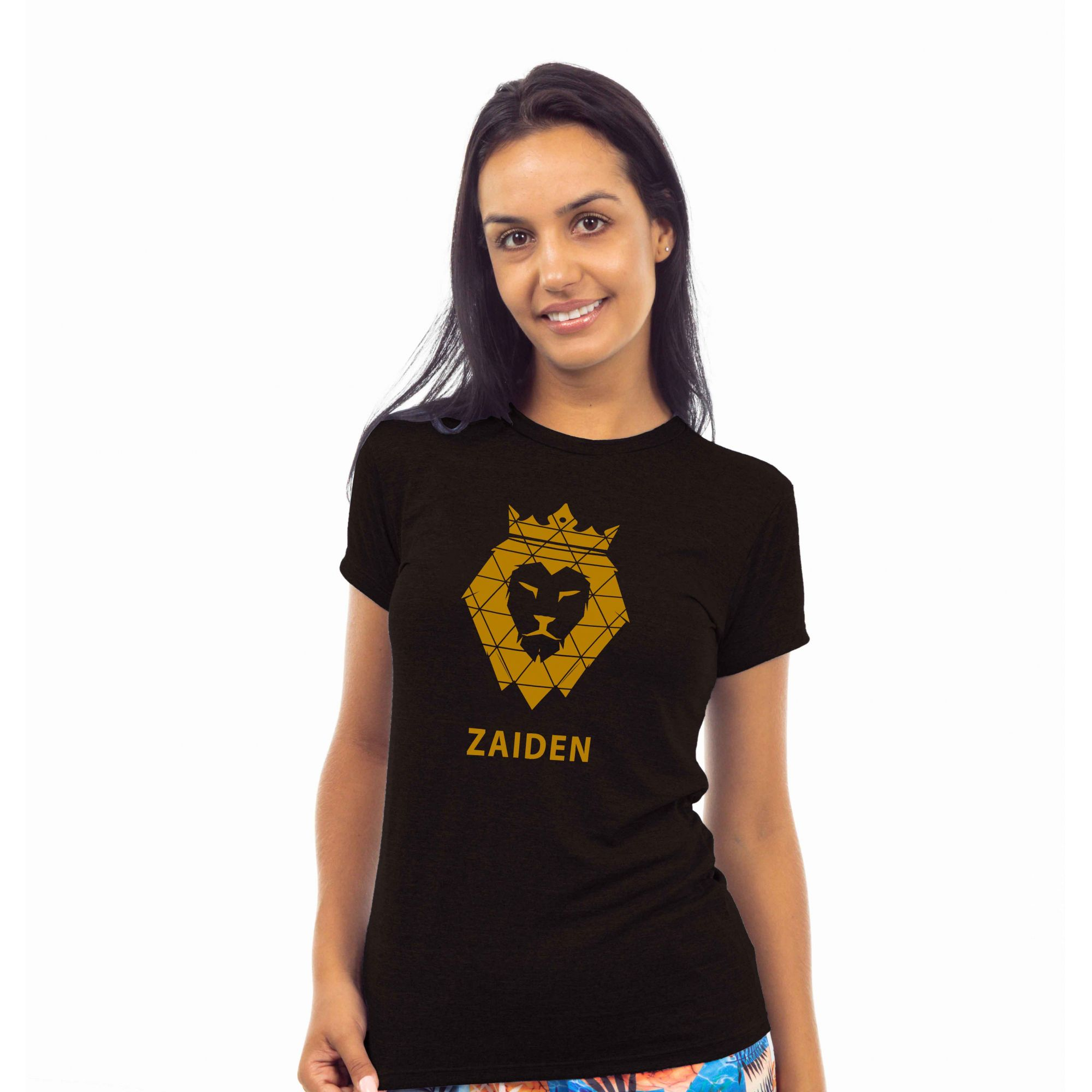 Camiseta Feminina Poliamida ZAIDEN Preta Leão Dourado