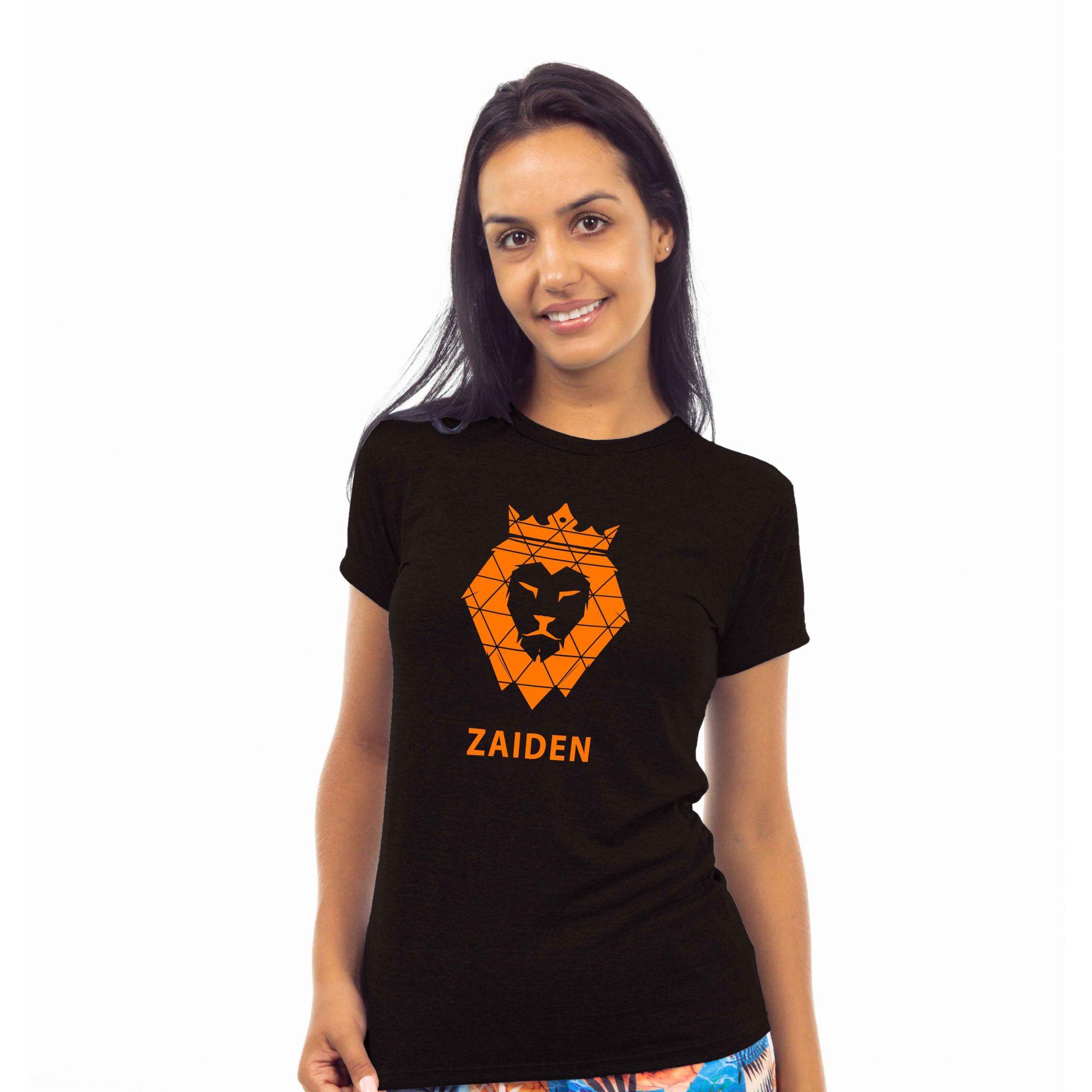 Camiseta Feminina Poliamida ZAIDEN Preta Leão Laranja