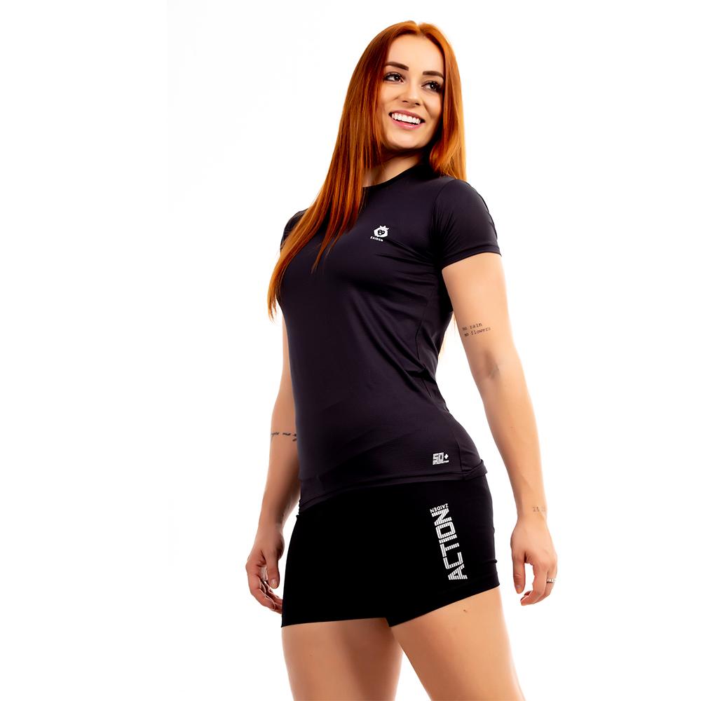 Camiseta Feminina Poliamida Mini Lion Zaiden Preta