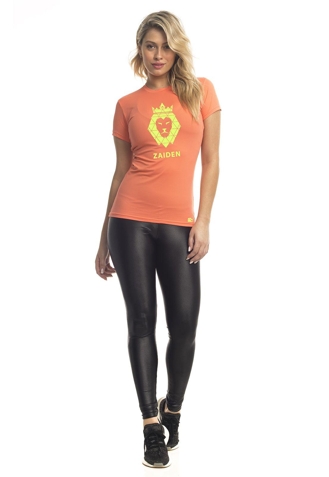 Camiseta Feminina Poliamida ZAIDEN Rambla Leão Amarelo Neon