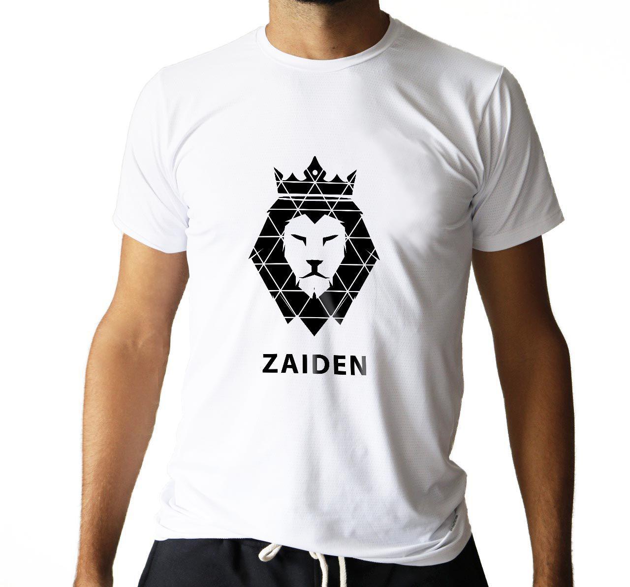 Camiseta Masculina Poliamida Branca ZAIDEN Leão Preto