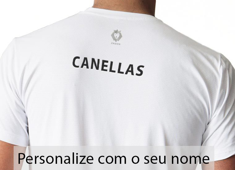 Camiseta Masculina Poliamida Branca ZDN Preto