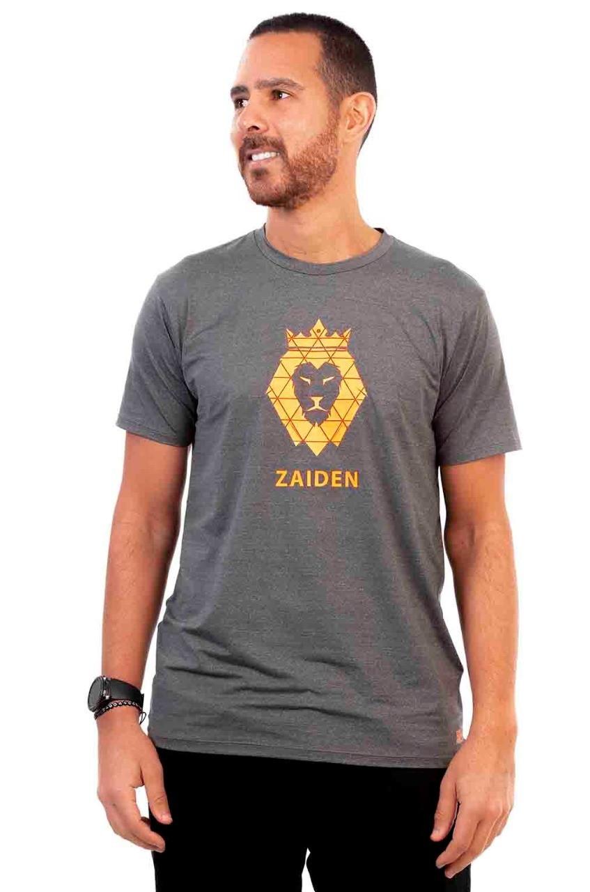 Camiseta Masculina Poliamida Mescla Leão Laranja