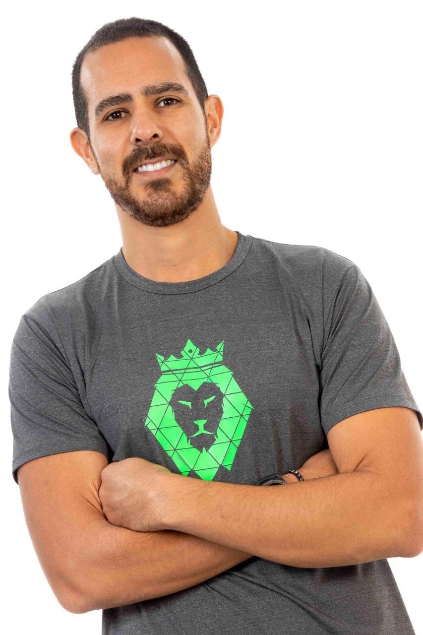 Camiseta Masculina Poliamida Mescla Zaiden Leão Verde