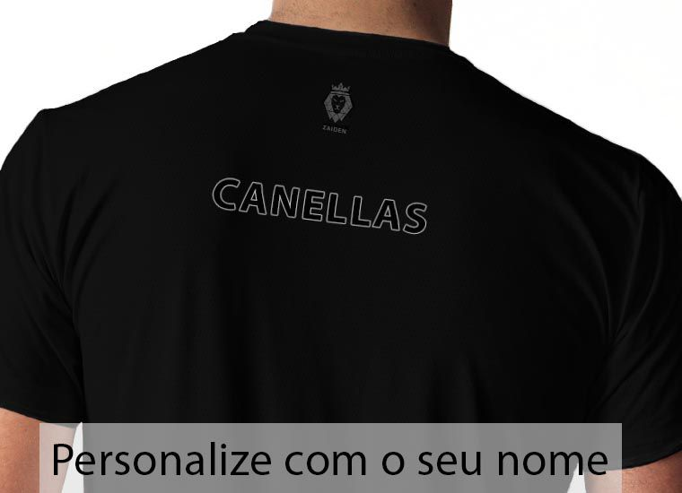 Camiseta Masculina Poliamida Preta ZAIDEN Leão Amarelo