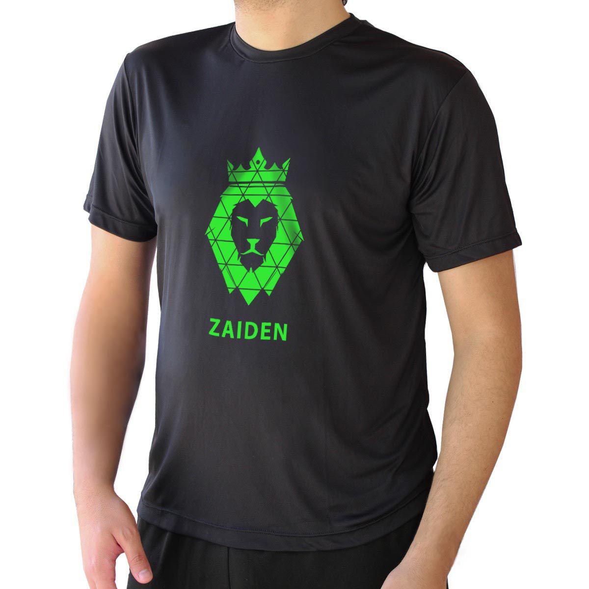 Camiseta Masculina Poliamida Preta ZAIDEN Leão Verde