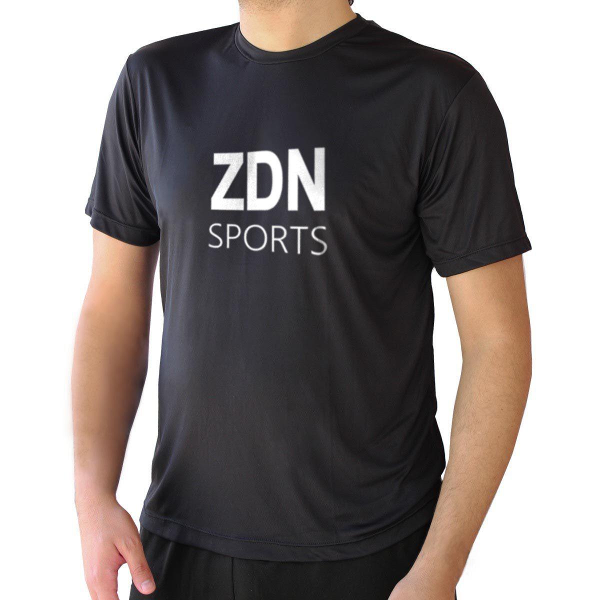 Camiseta Masculina Poliamida Preta ZDN Branco
