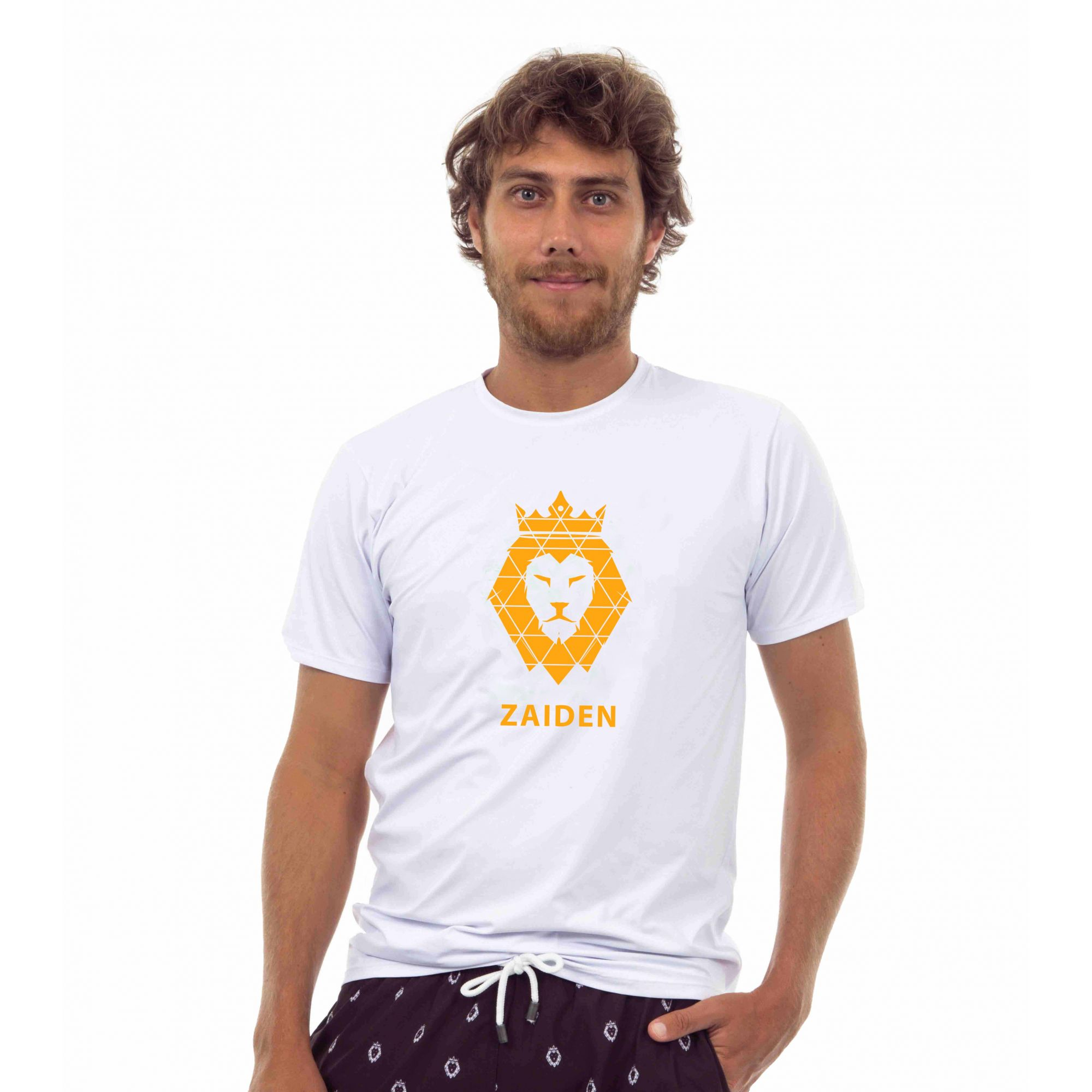 Camiseta Masculina Poliamida Zaiden Branca Leão Laranja