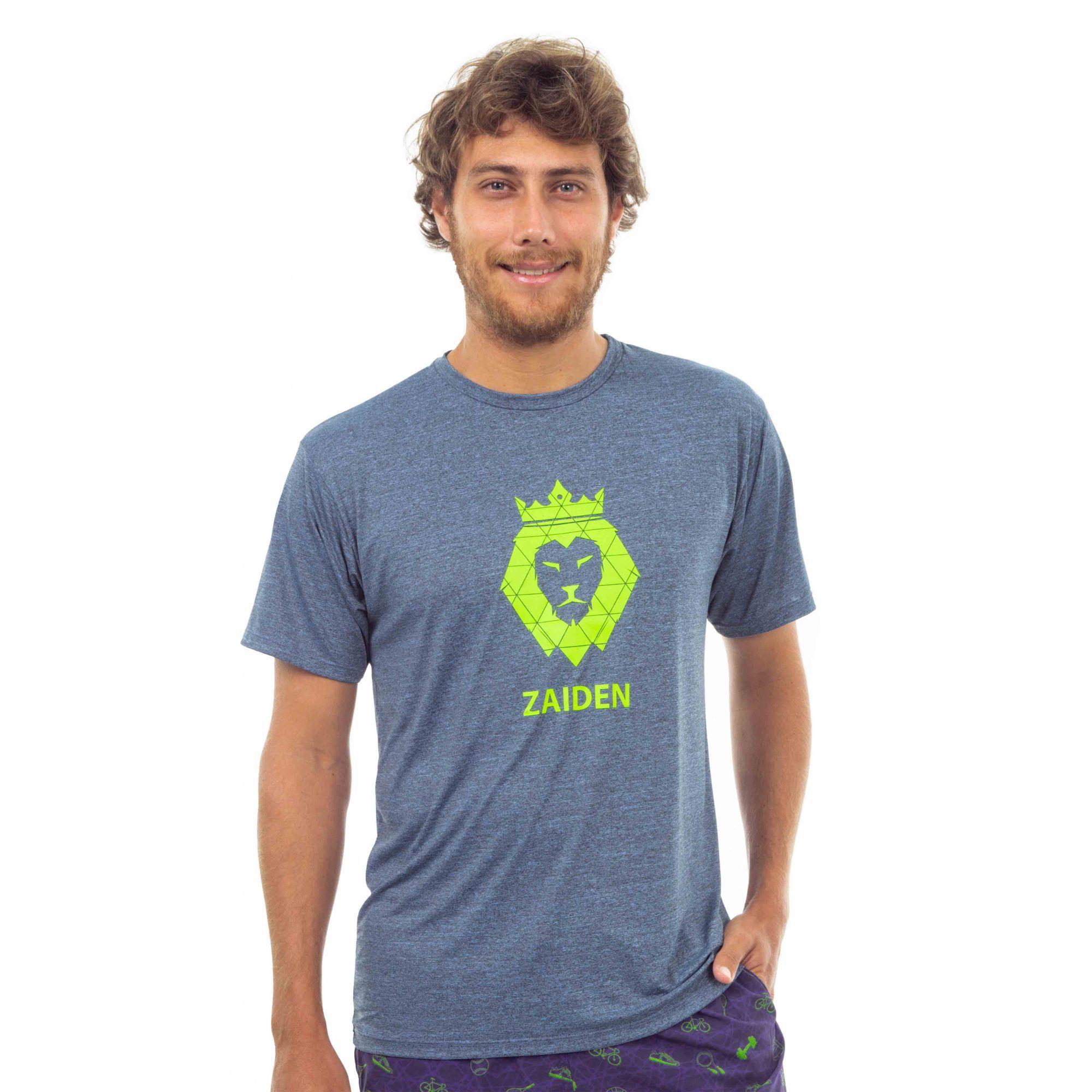 Camiseta Masculina Poliamida Zaiden Oxy Mescla Azul Leão Amarelo