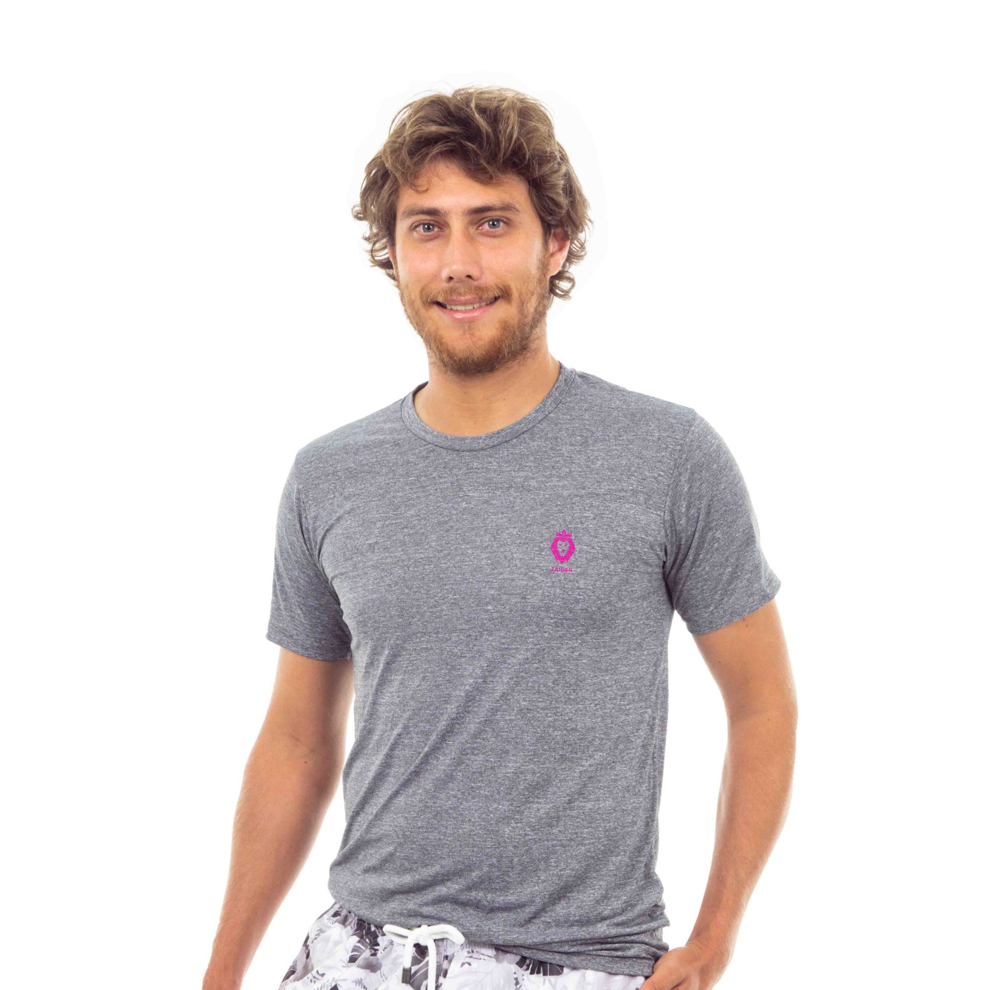 Camiseta Masculina Poliamida Zaiden Oxy Mescla Cinza Leão Pink