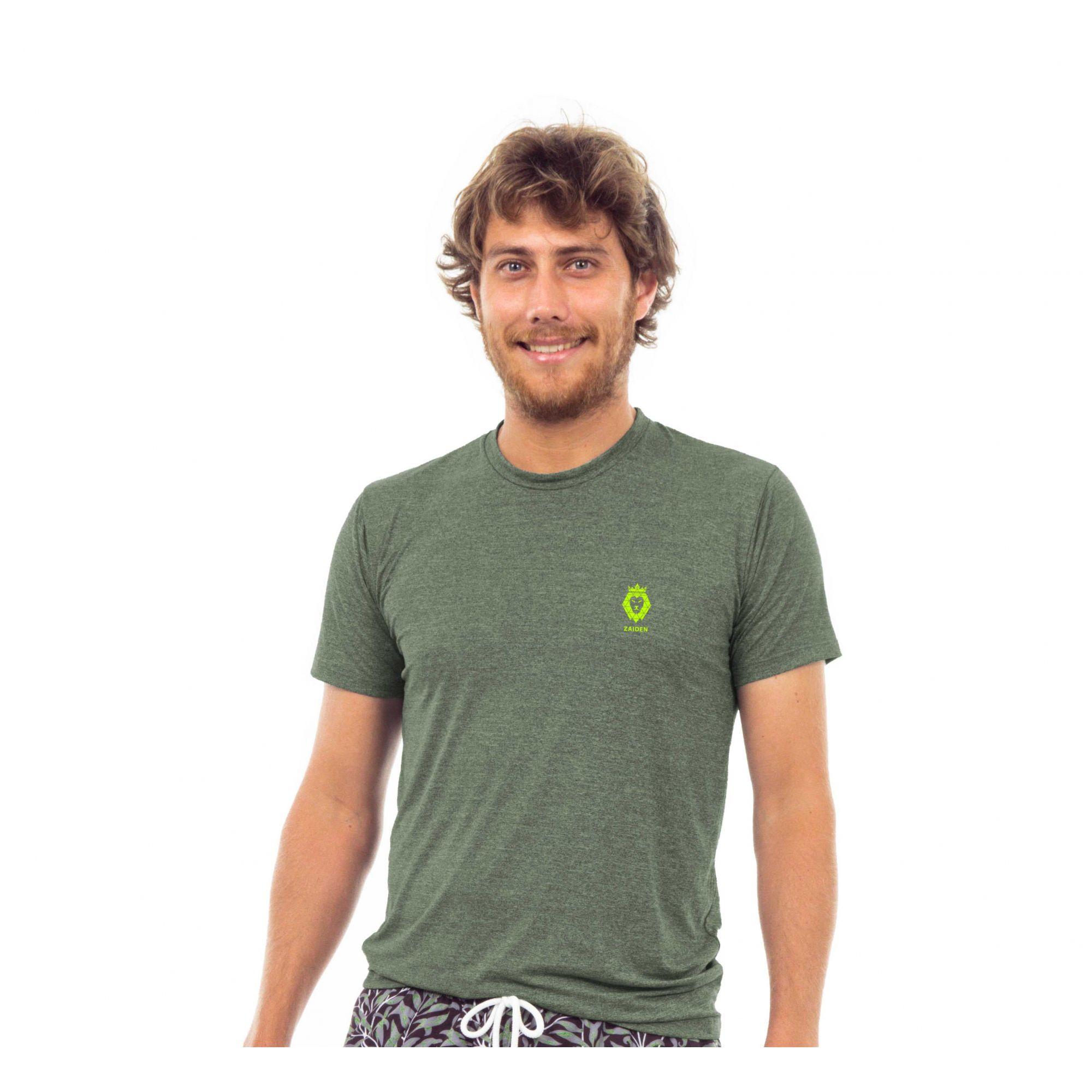 Camiseta Masculina Poliamida Zaiden Oxy Mescla Verde Leão Amarelo